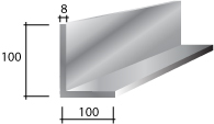 h) 100 x 100 x 8 Galvanised Lintel