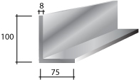 g) 100 x 75 x 8 Galvanised Lintel