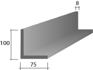 g) 100 x 75 x 8 Zinc Lintel