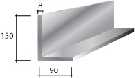 j) 150 x 90 x 8 Galvanised Lintel