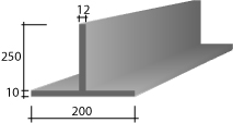 h) 200(10) x 250 x 12 Zinc T-Bar