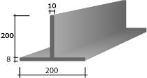 d) 200(8) x 200 x 10 Zinc T-Bar