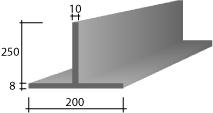 f) 200(8) x 250 x 10 Zinc T-Bar