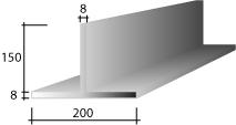 b) 200 x 150 x 8 Zinc T-Bar