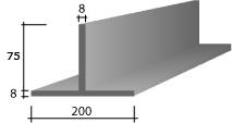 a) 200 x 75 x 8 Zinc T-Bar